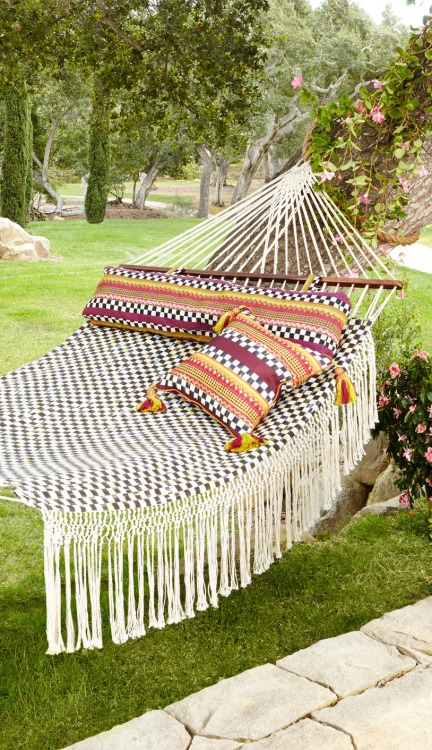 Relax in a checkered hammock