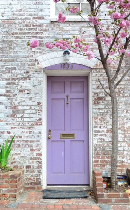 Lavender door and cherry blossoms