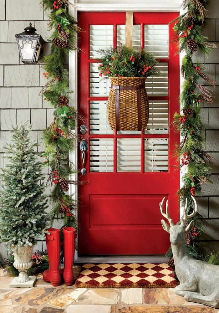 Red door with greenery