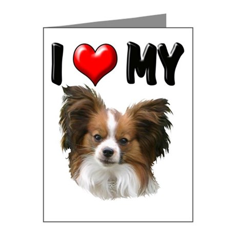 I LOVE MY PAPILLION NOTE CARDS (