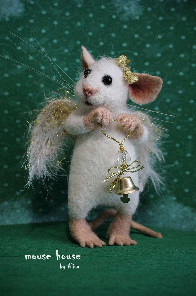 Felted angel mouse