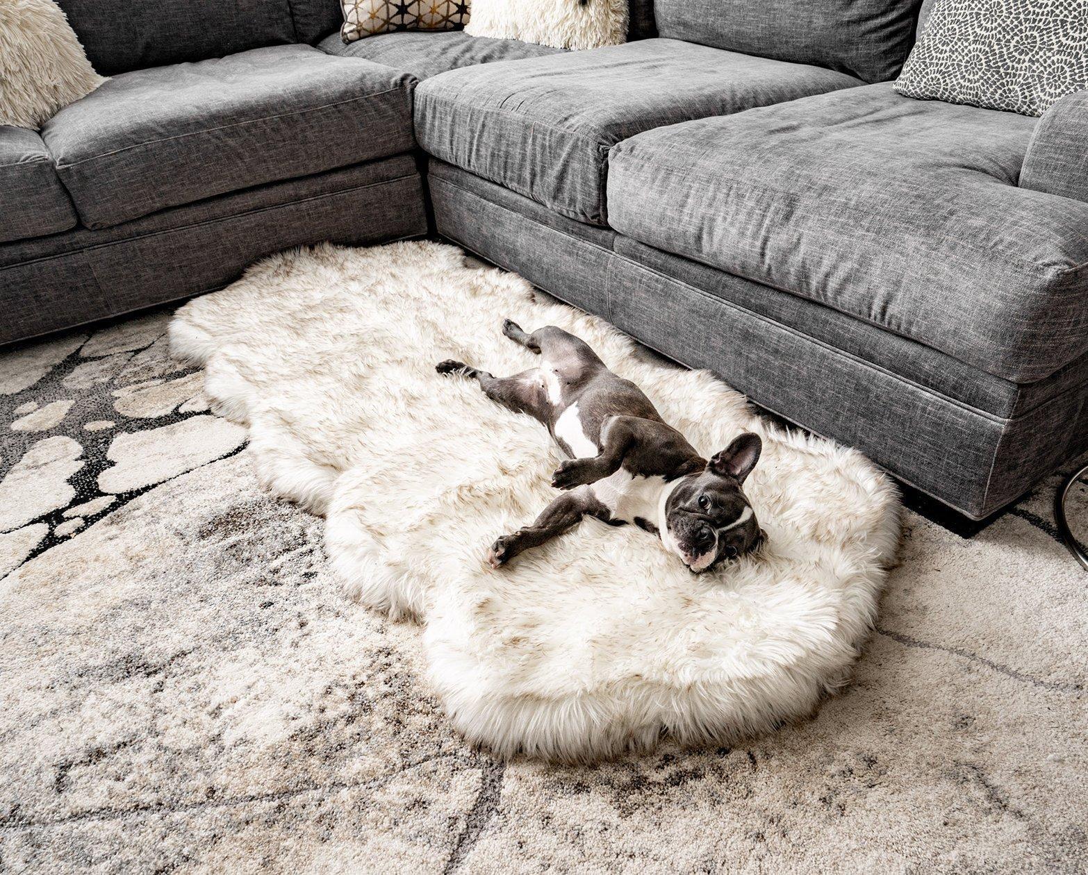 Puppy fur rug bed