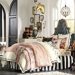 Stripes and a Paris headboard