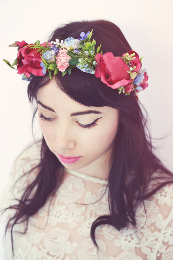 Floral rustic spring hair wreath