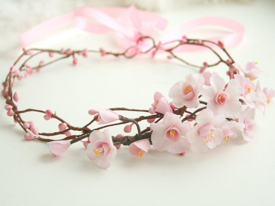 Baby pink cherry crown blossom