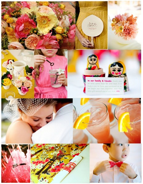 Yellow pink orangewedding themes