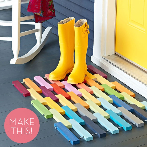 DIY Colorful Wooden Slat Door Mat