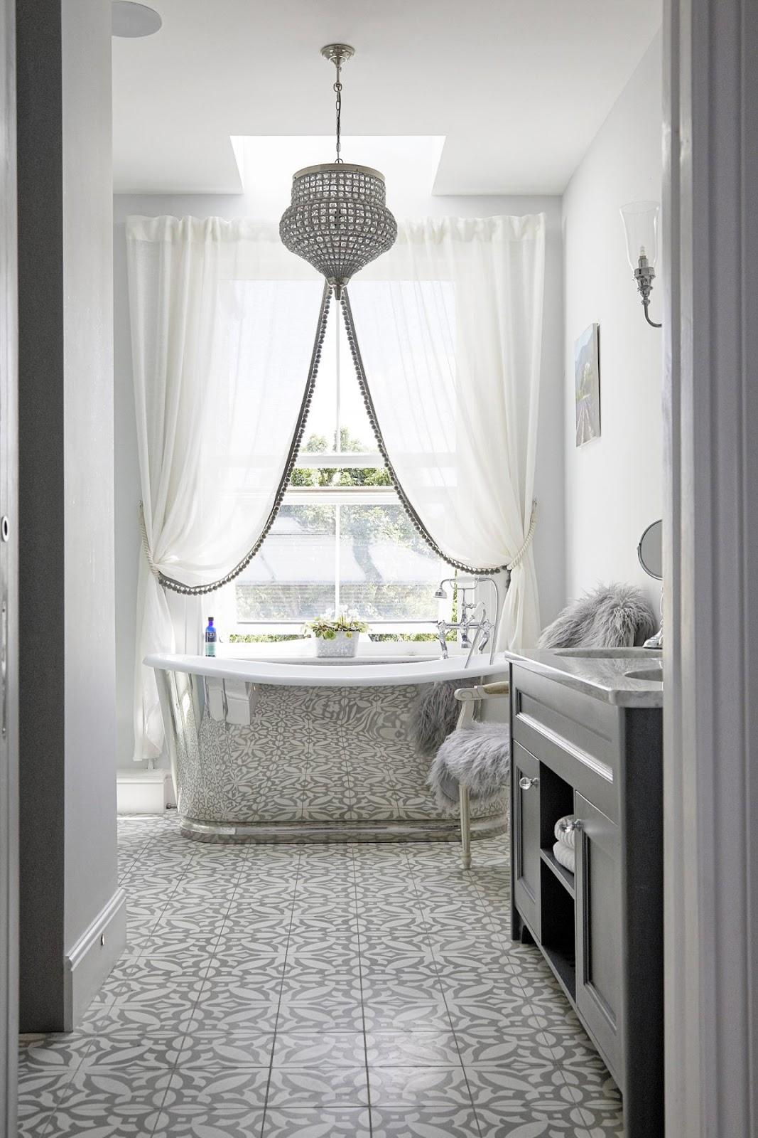 Master bathroom in silver and grey
