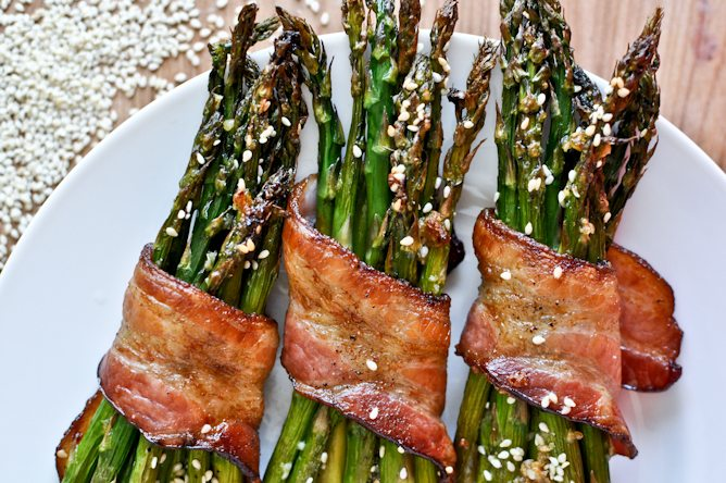 Asparagus wrapped bacon