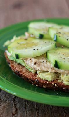 Toast avocado hummus cucumber
