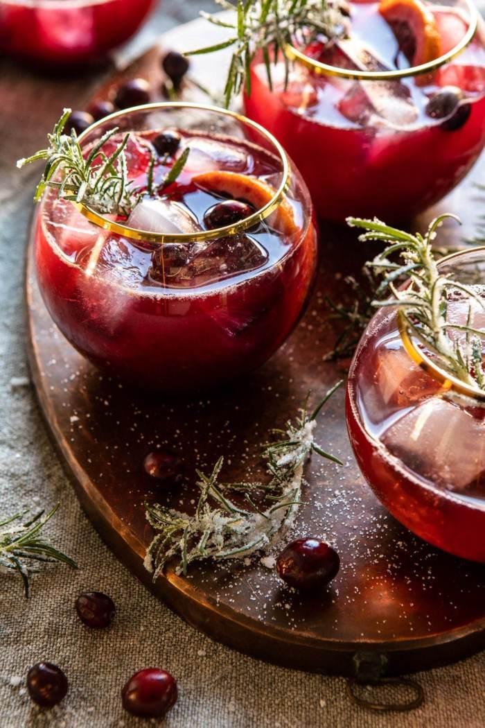 Cranberry bourbon sour.