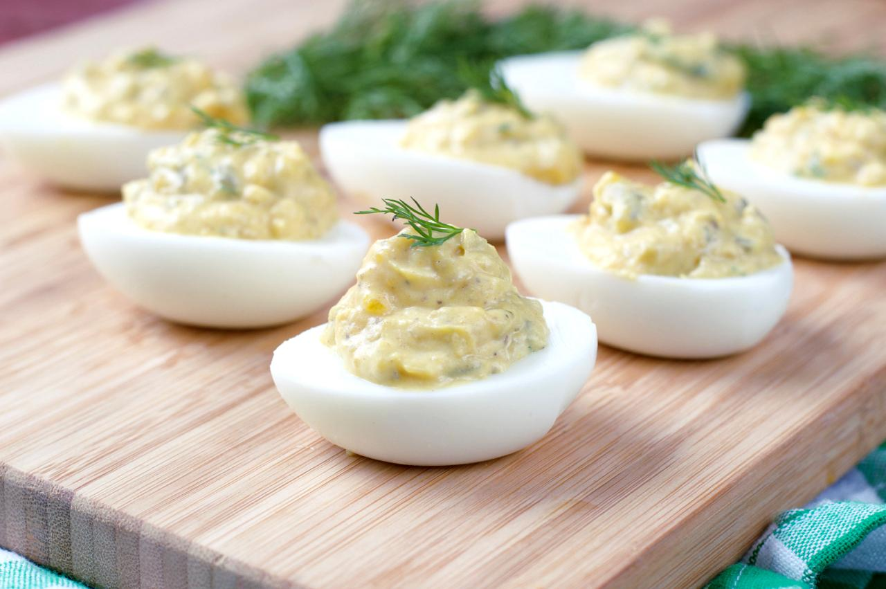 Pickle dill paleo deviled eggs