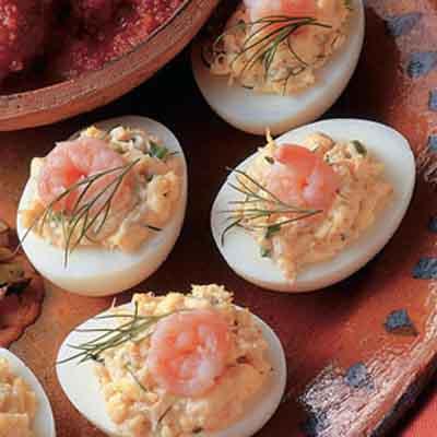 Deviled dilled shrimp eggs