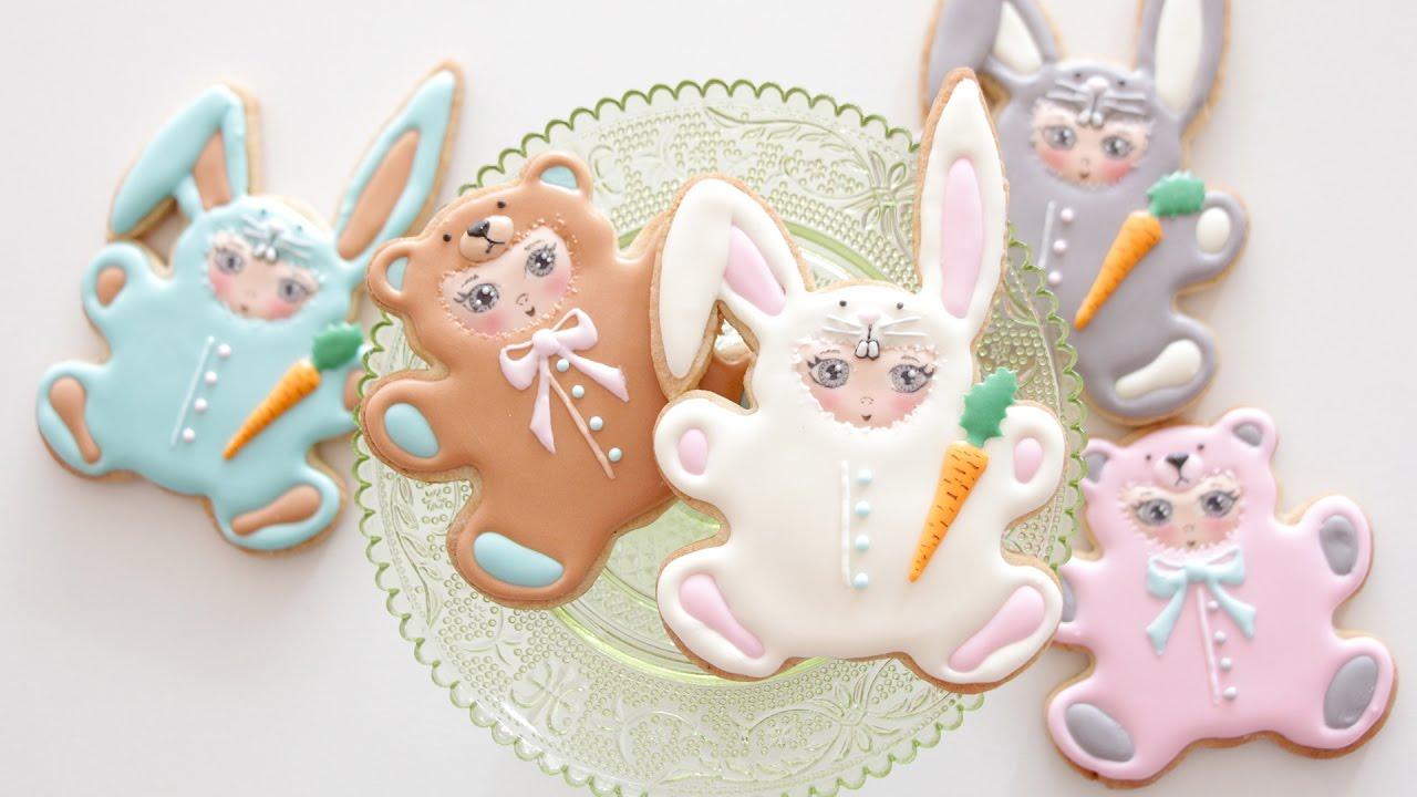 Monkey and bunny easter cookies