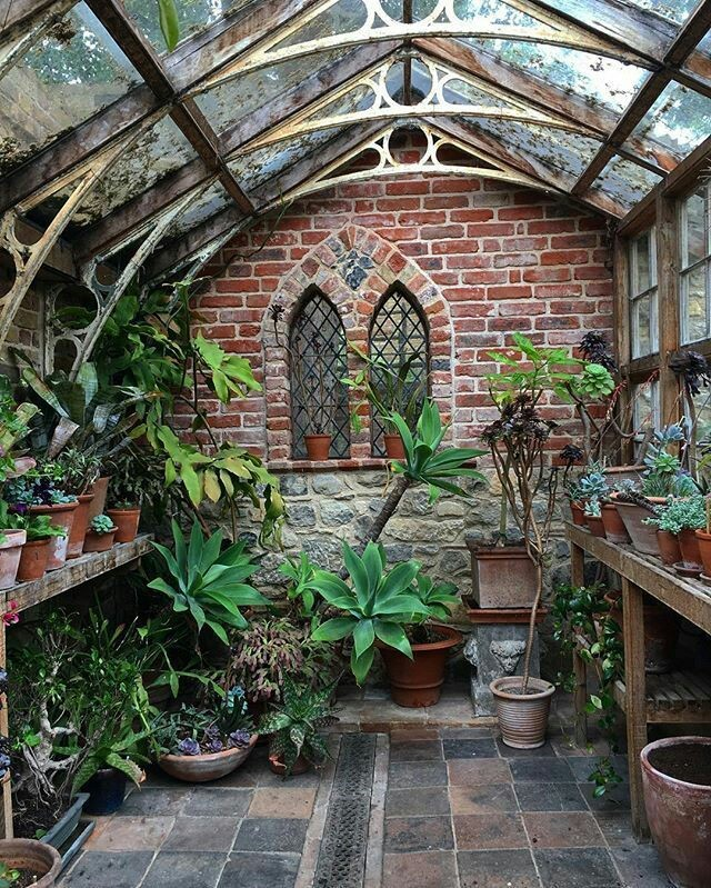 Greenhouse with cathedral windows