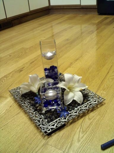Wedding centerpieces silver blue