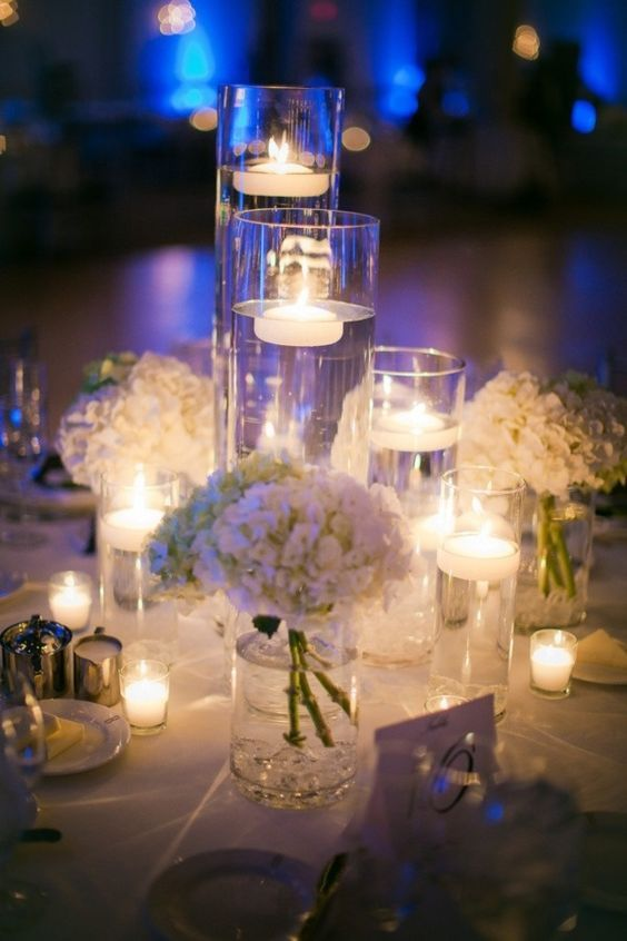 Wedding candle on centerpieces