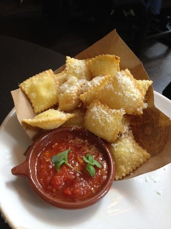 Italian nachos deep fried ravioli