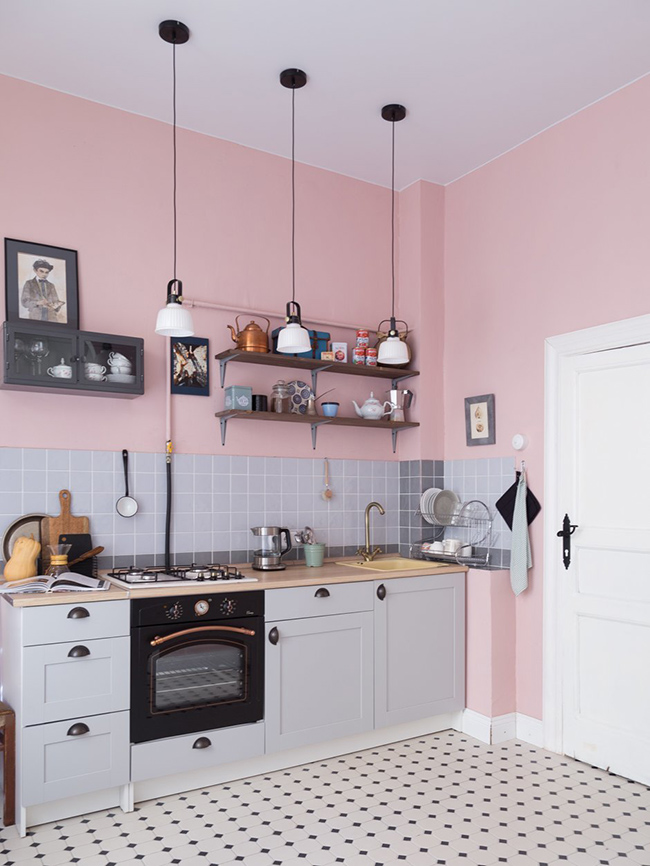Pink and grey kitchen