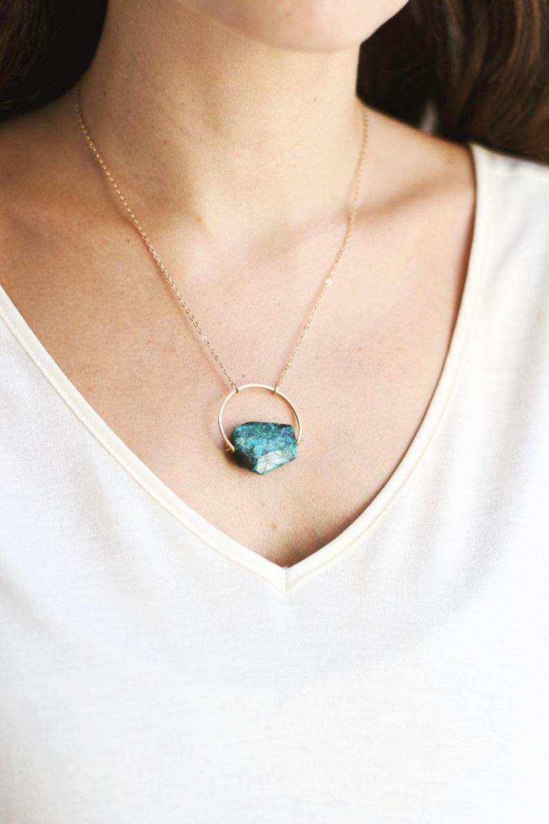 Arch Chrysocolla Turquoise Necklace