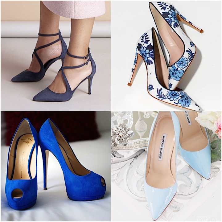 Dazzling blue wedding shoes