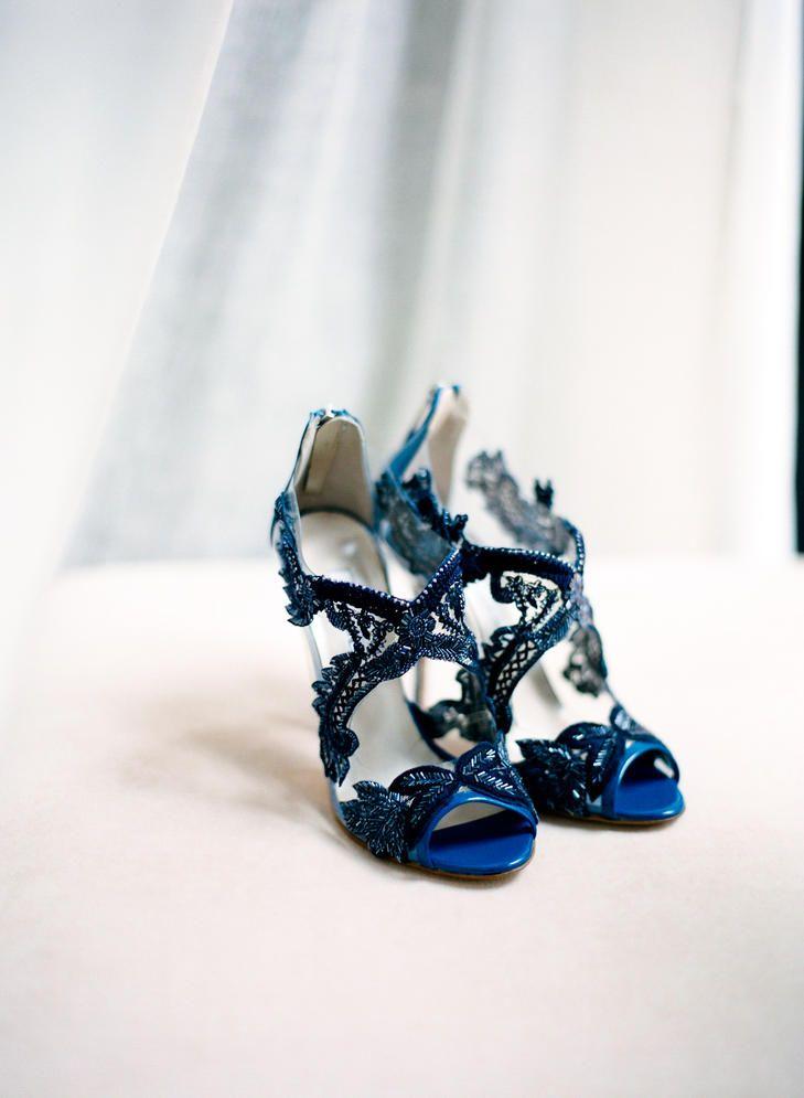 Blue oscar de la renta bridal shoes
