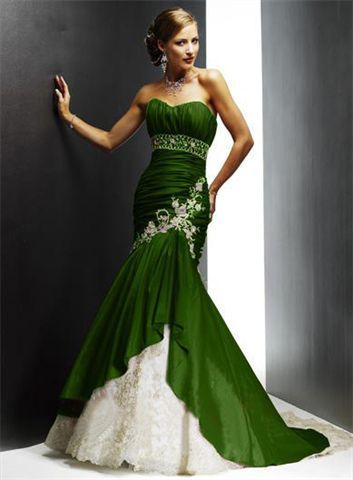 Strapless dress mermaid green dress