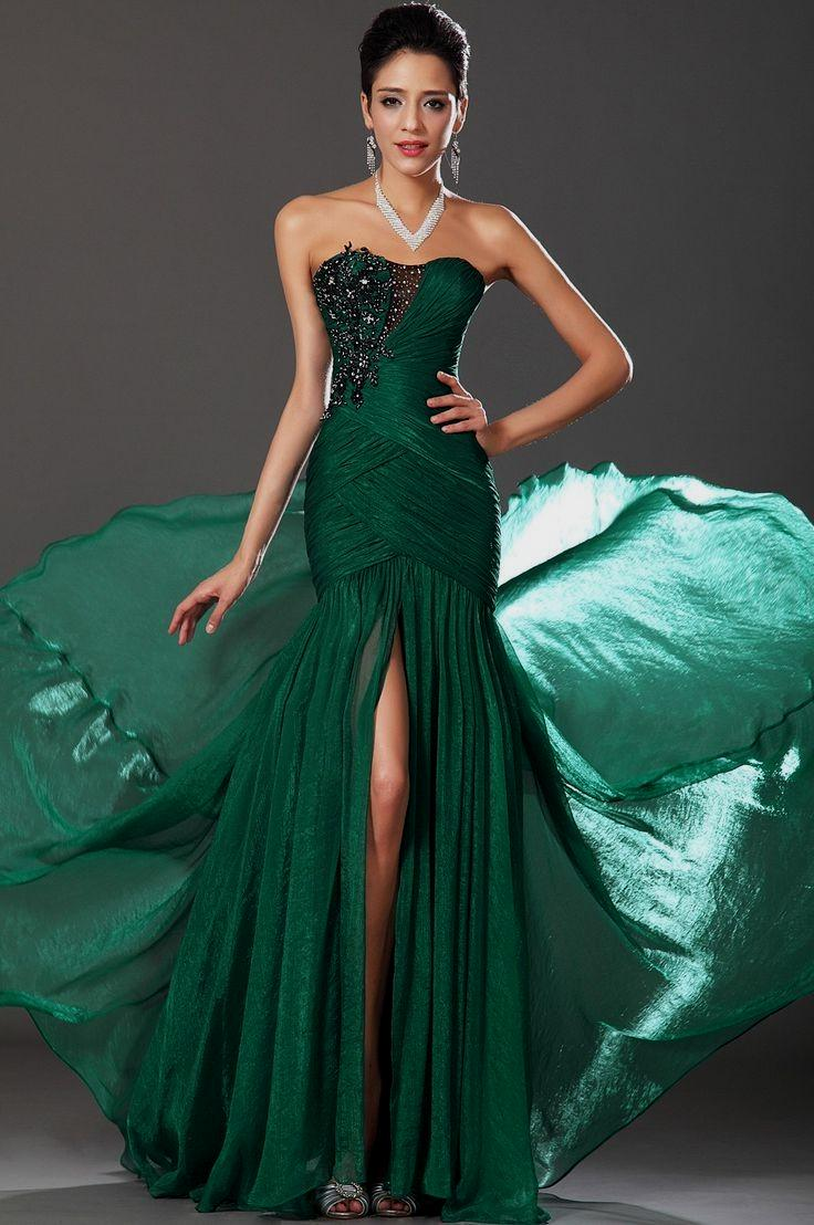 Prom green mermaid emerald dress