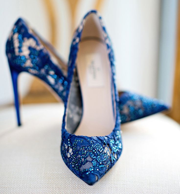 Blue lace shoes wedding