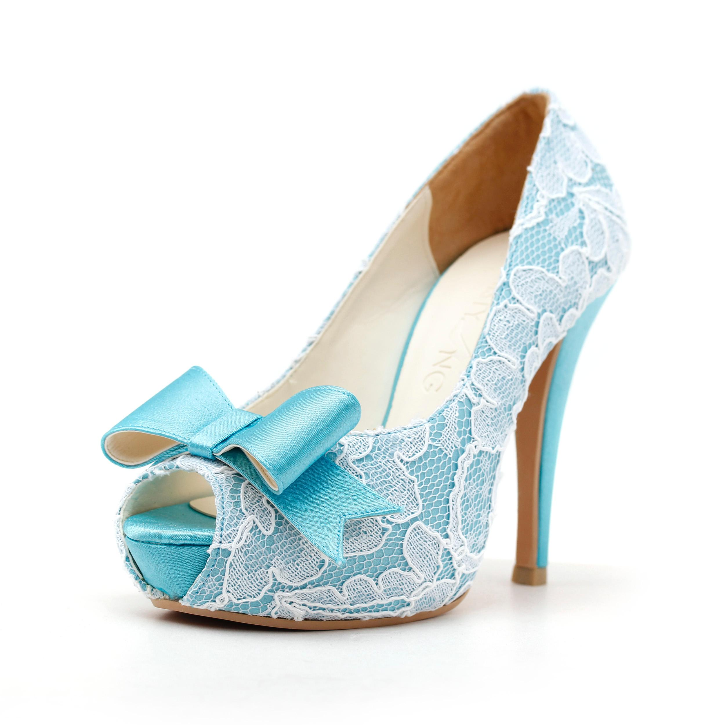Sky blue lace shoes for bridal
