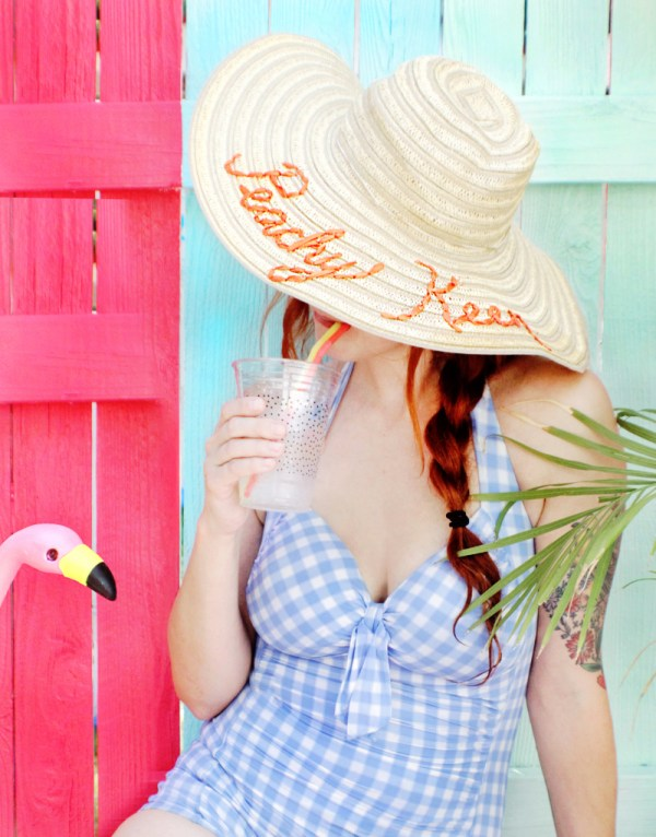 DIY embroidered sun hat
