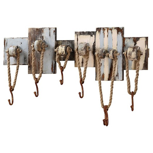 Wood Wall Decor with 7 Hooks & Rope