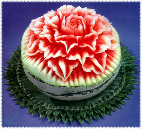 Flower carving watermelon
