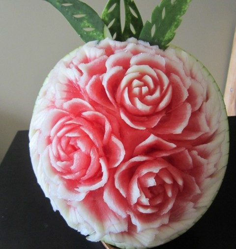 Rose watermelon carving