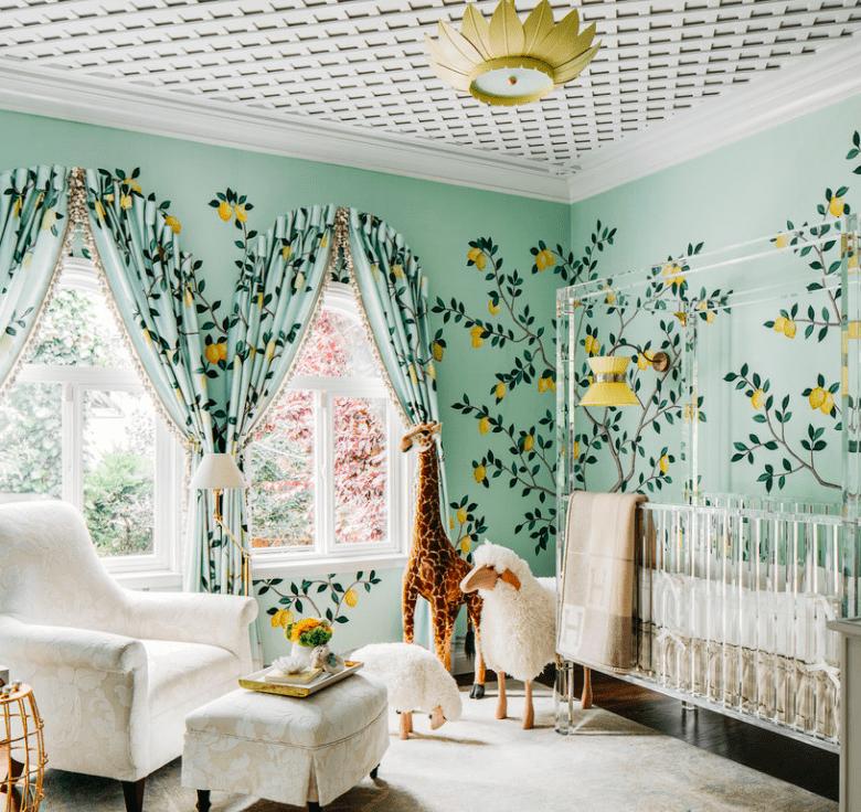 Lemon trees on the nursery walls