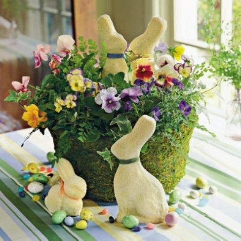 Flowers and bunnies centerpiece