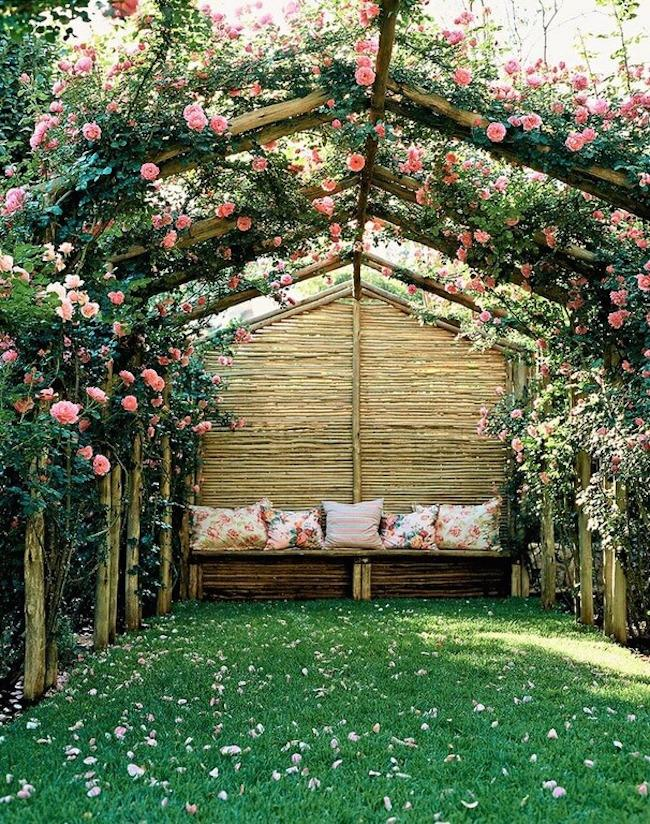 Rose arbor with a reading nook