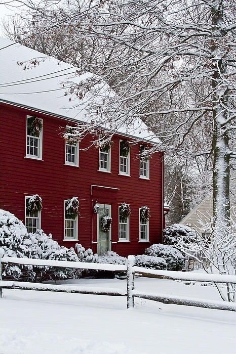 Red home in the snow