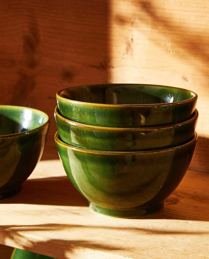 Green earthenware bowl set
