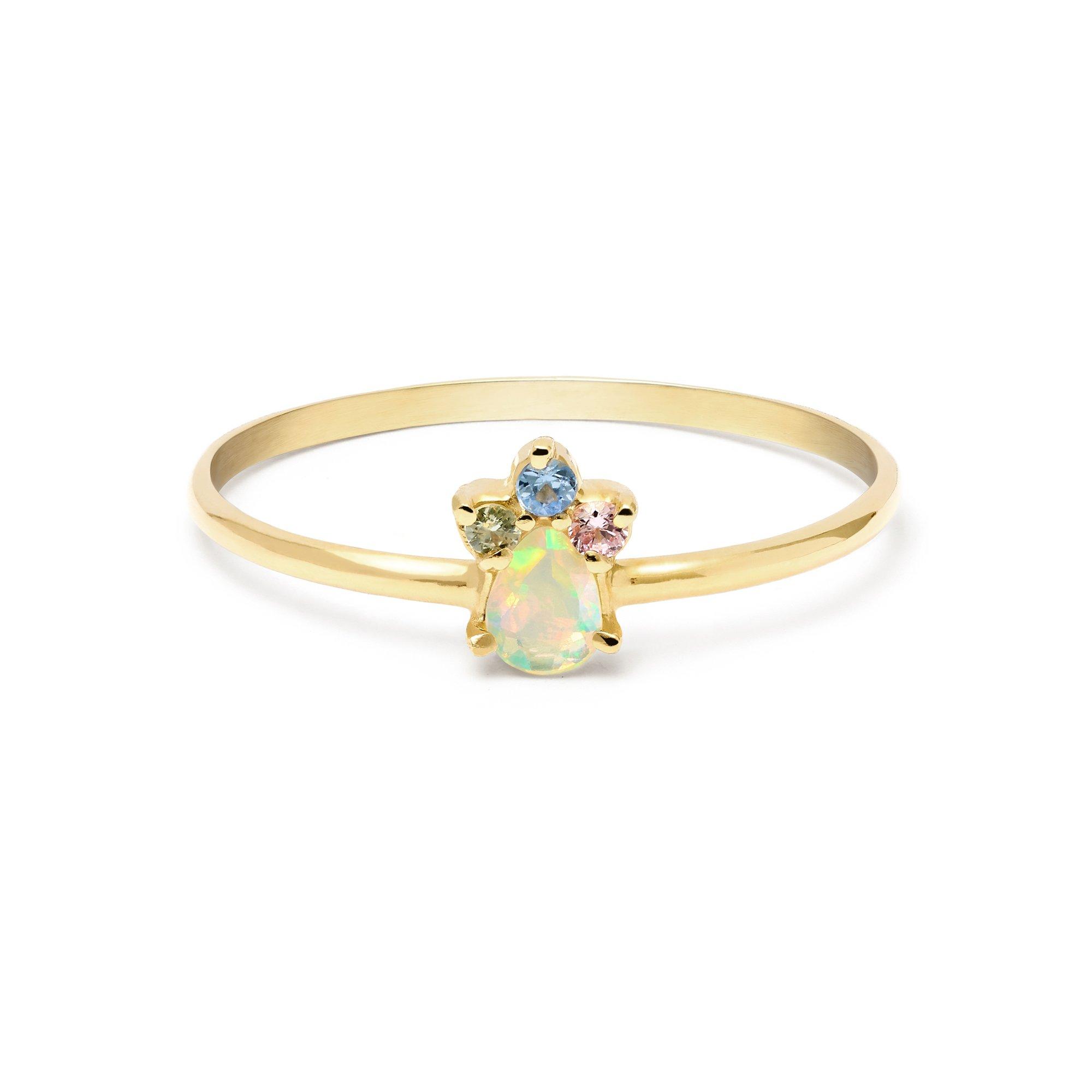 Pear Opal Unicorn Crown Ring