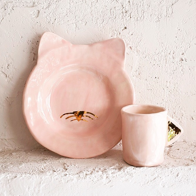 Kitty pink plate and cup