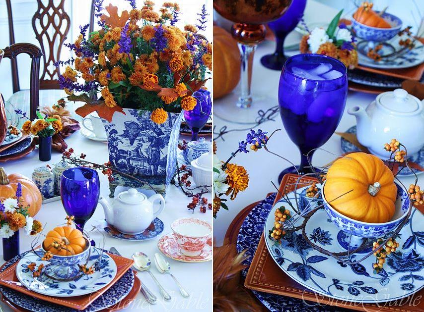 Indigo table setting