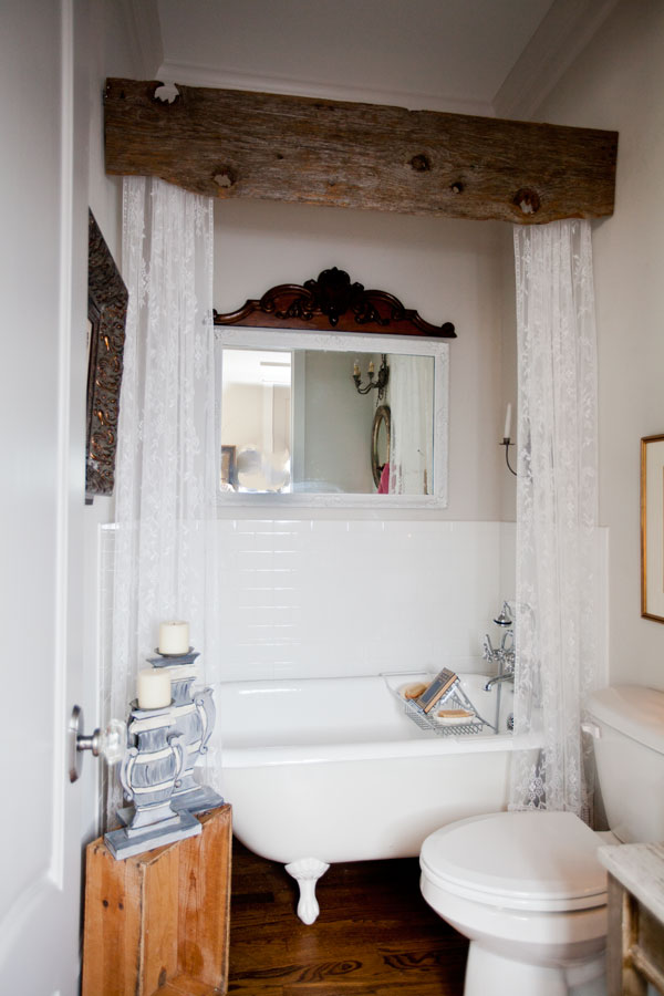 Rustic wood valance in the bathroom