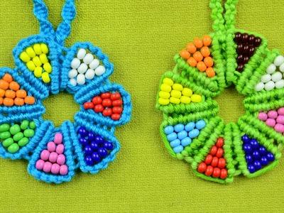 Beaded macrame flower - necklace