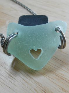 Sea glass cut heart necklace