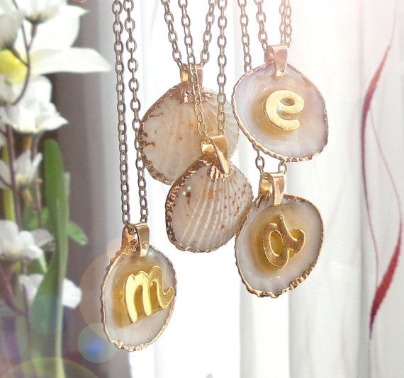 Seashell initial necklace