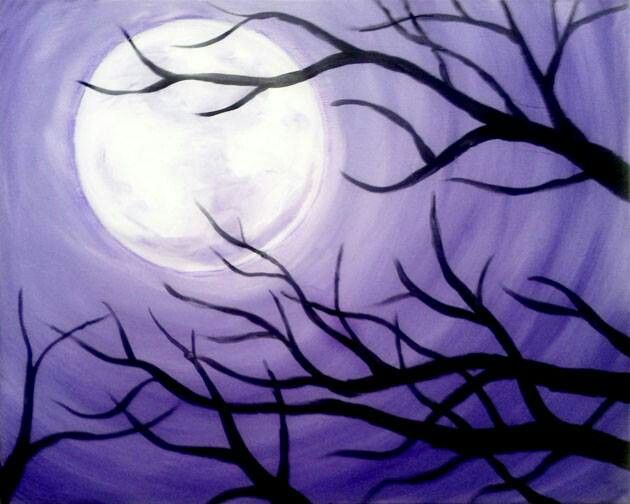 Purple moon tree - wine and canvas.