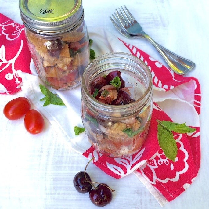 Cherry Caprese Panzanella Salad