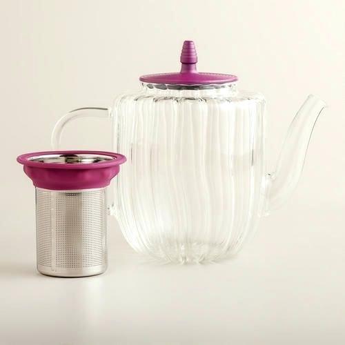 FUCHSIA GLASS TEA KETTLE