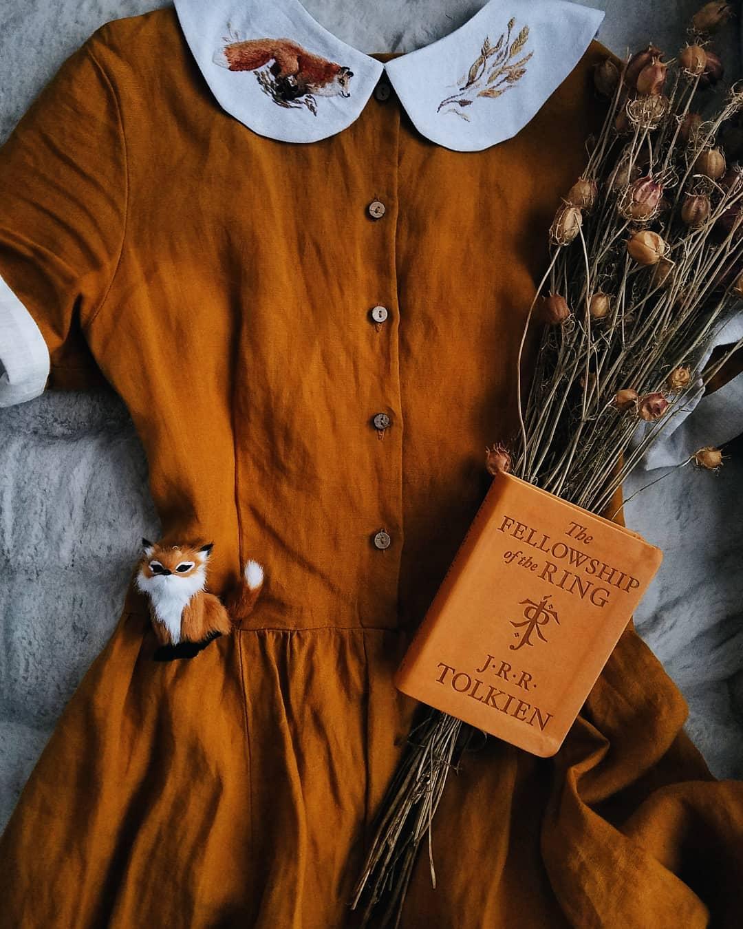 Rusty linen fox dress